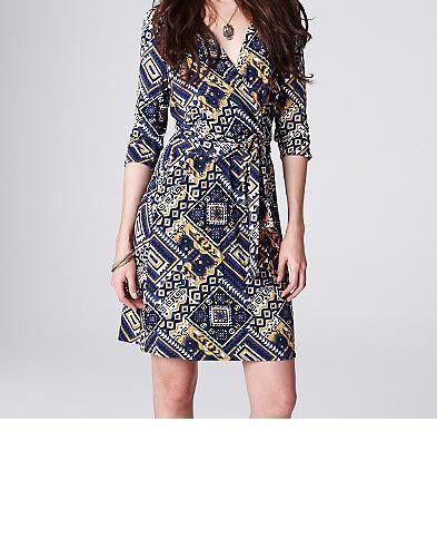 Lucky Brand Faux Wrap Mayan Demi Dress Größe X-Large NWT Blau Multi Farbe