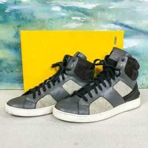 b58310f1f5 Details about $890 FENDI Men's Gray Wool Leather Patchwork High Tops Lace  Up Sneakers SZ 7 Box