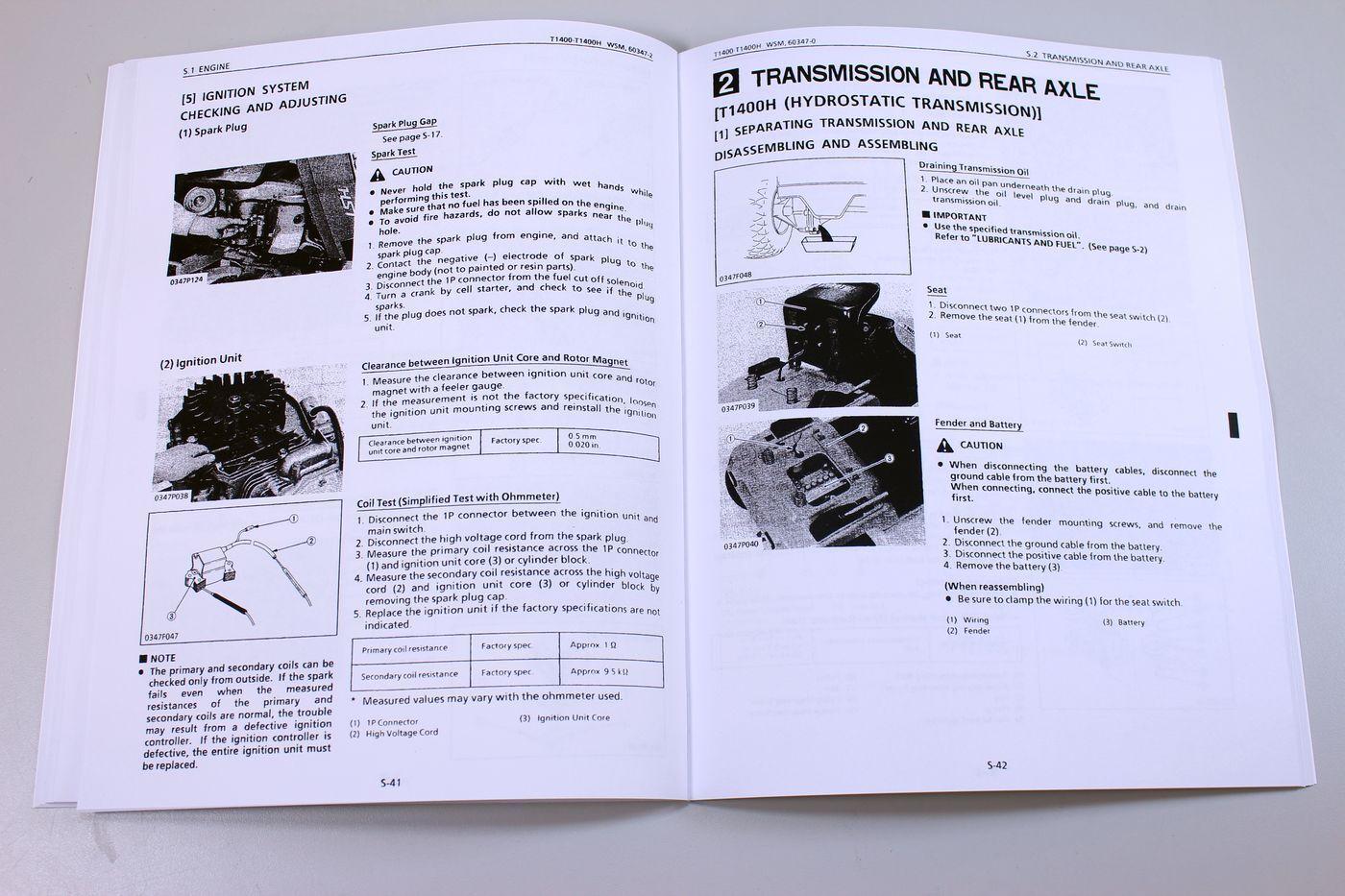 Kubota T1400 T1400h Lawn Tractor Workshop Service Manual Shop Repair