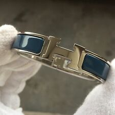 Hermès Clic-Clac H - Bangle Love Bracelet Blue Bleu Black Gold GM PM 6.2 Inches