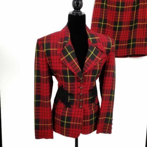 Vintage 1990s Tartan Plaid Suit Clueless Red Black