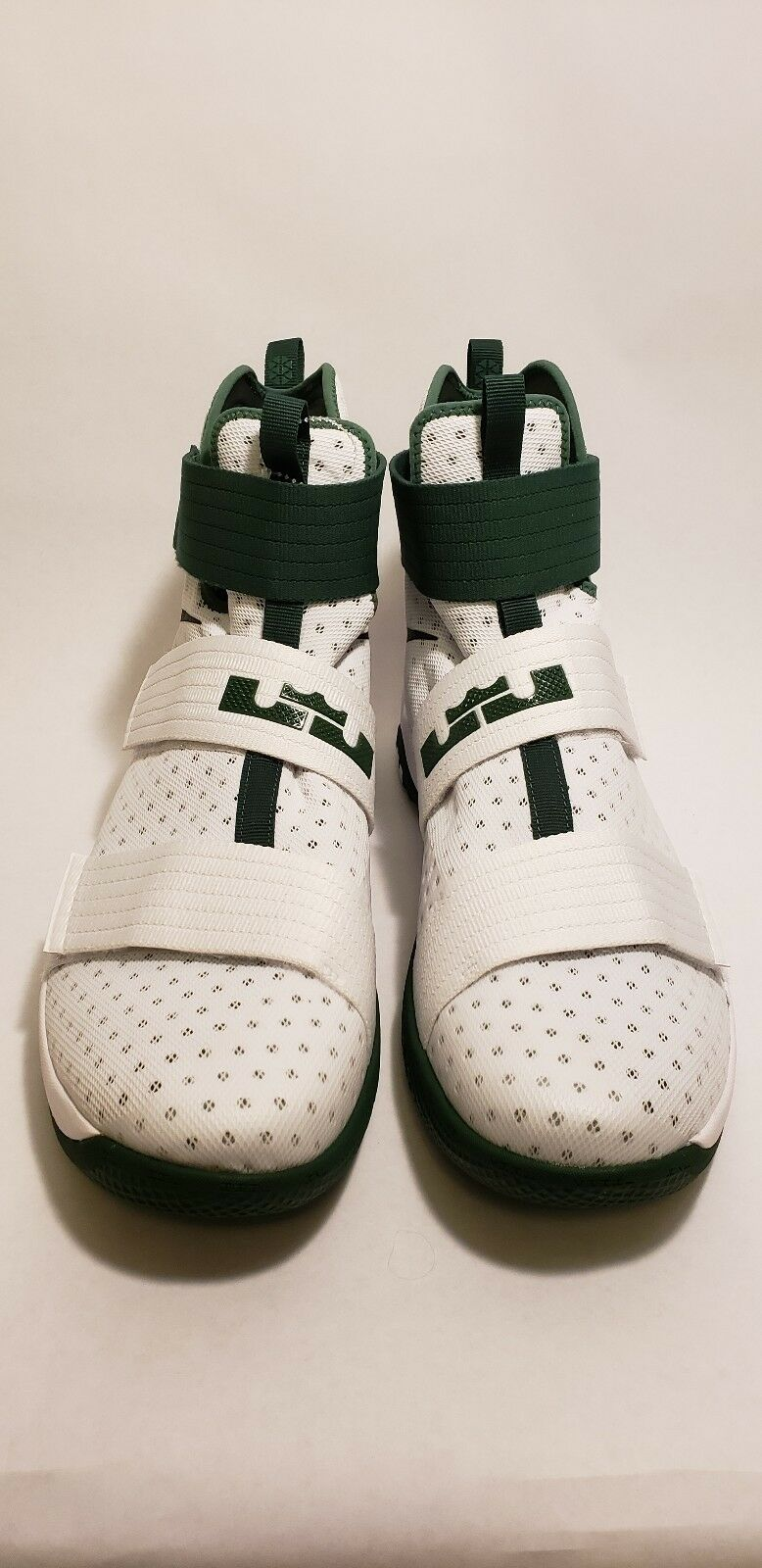 NEW NIKE LeBron James Soldier Ten White Green High Top Basketball shoes Size 17.5