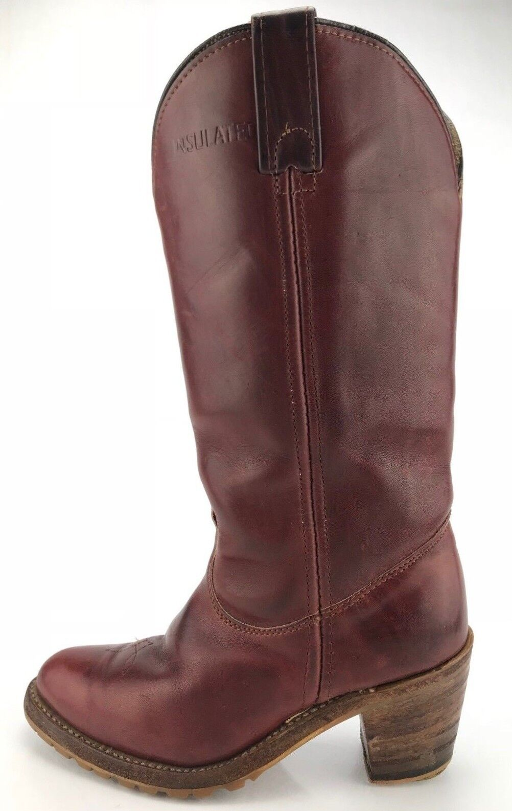 Double H Western Boots Burgundy Leather Casual Cowgirl Cowboy shoes Womens 5.5 B