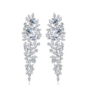 All-AAA-Cubic-Zirconia-CZ-Pierced-Earrings-Wedding-Party-Prom-Pageant-6cm-Long