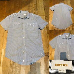 Herren-Diesel-graues-Poloshirt-Groesse-L-Large-Kurzarm-Brust-21-034-makellos