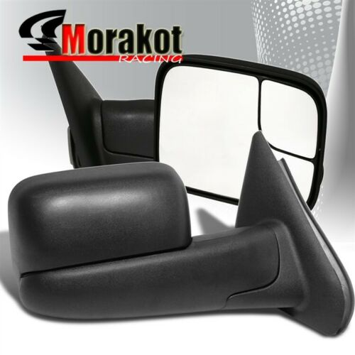 94-01 Dodge Ram 1500//94-02 2500//3500 Extend Flip Up Manual Tow Mirror Black