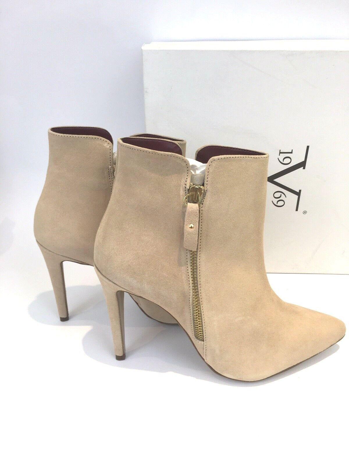 Versace V 1969 Beige Beige Beige Suede Pointed Toe Ankle Boots Lou Tortora Size 41 65af12