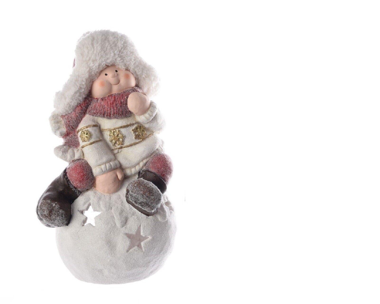 Kerzenhalter Kinder Winterkinder Polymagnesium Junge Junge Junge ca. 49 cm aedfb6