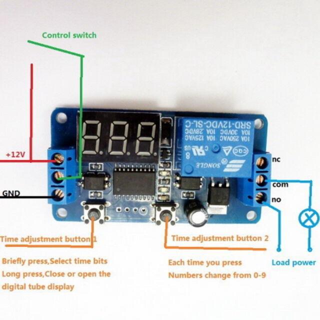 DC 12V LED Display Digital Delay Timer Control Switch Module PLC Automation FO