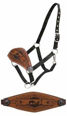 Black Nylon Bronc Halter Tooled Leather Noseband w Barrel Racer /& Conchos