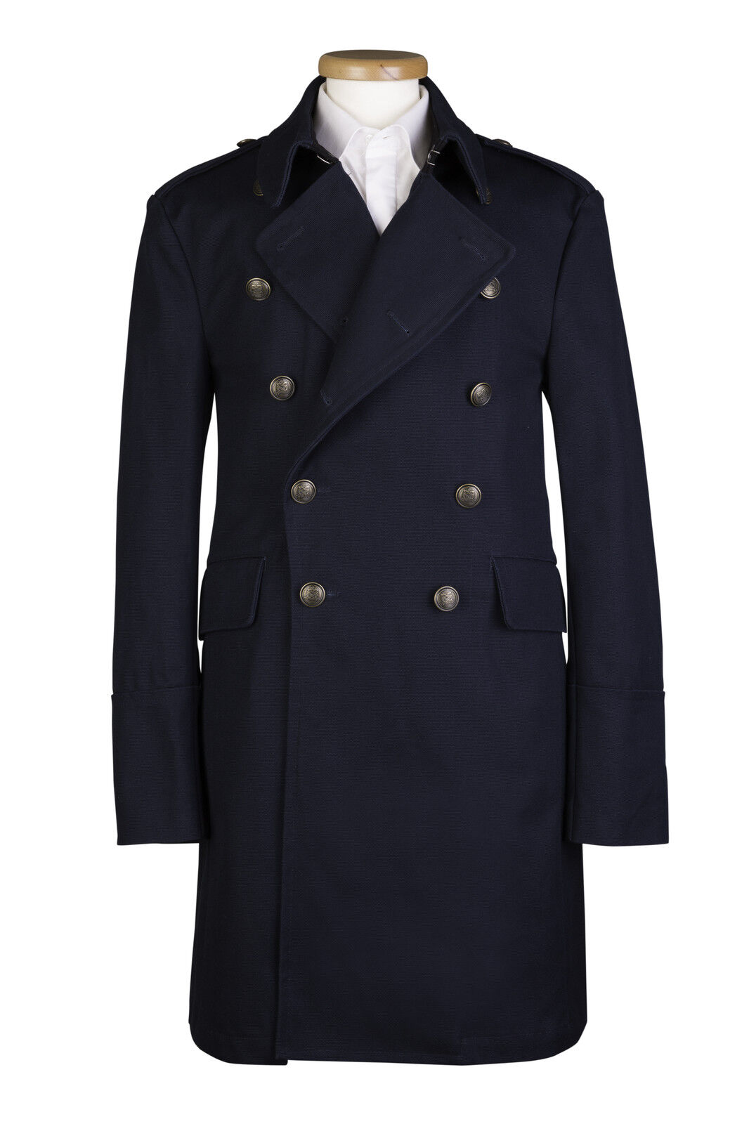 Marineblau Trenchcoat Militär Messing Knöpfe Baumwolle