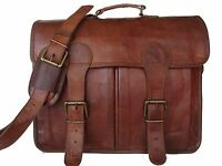 Vintage Large Brown genuine leather messenger men briefcase laptop shoulder bag