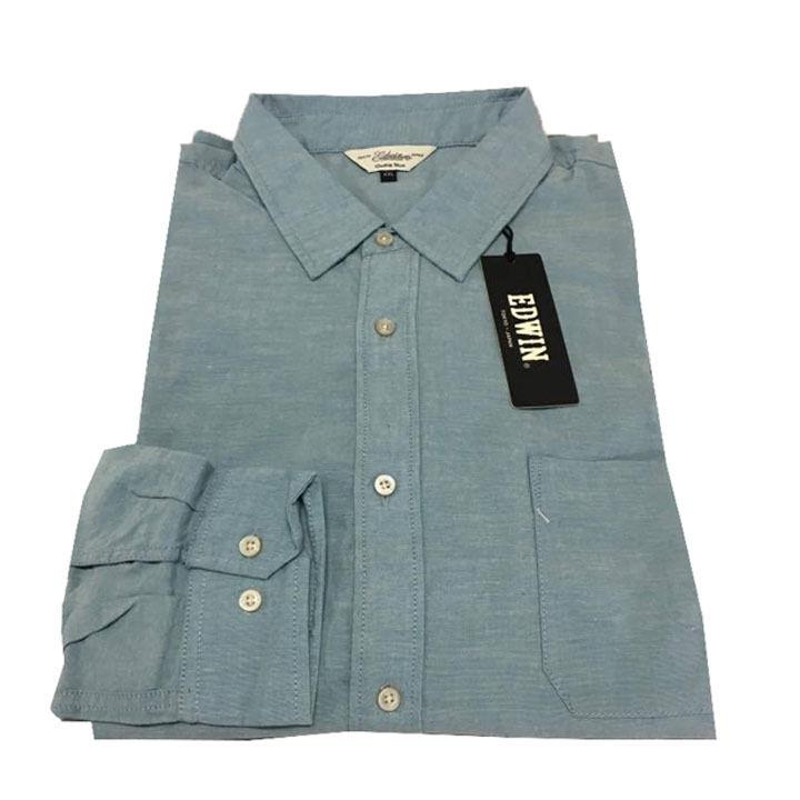 EDWIN camicia uomo tessuto oxford celeste lavato 100% cotone