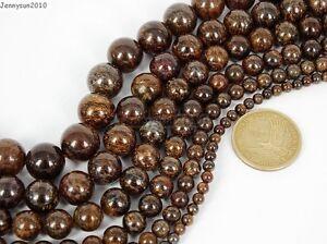 Natural-Bronzite-Jasper-Gemstone-Round-Beads-15-5-039-039-4mm-6mm-8mm-10mm-12mm-14mm