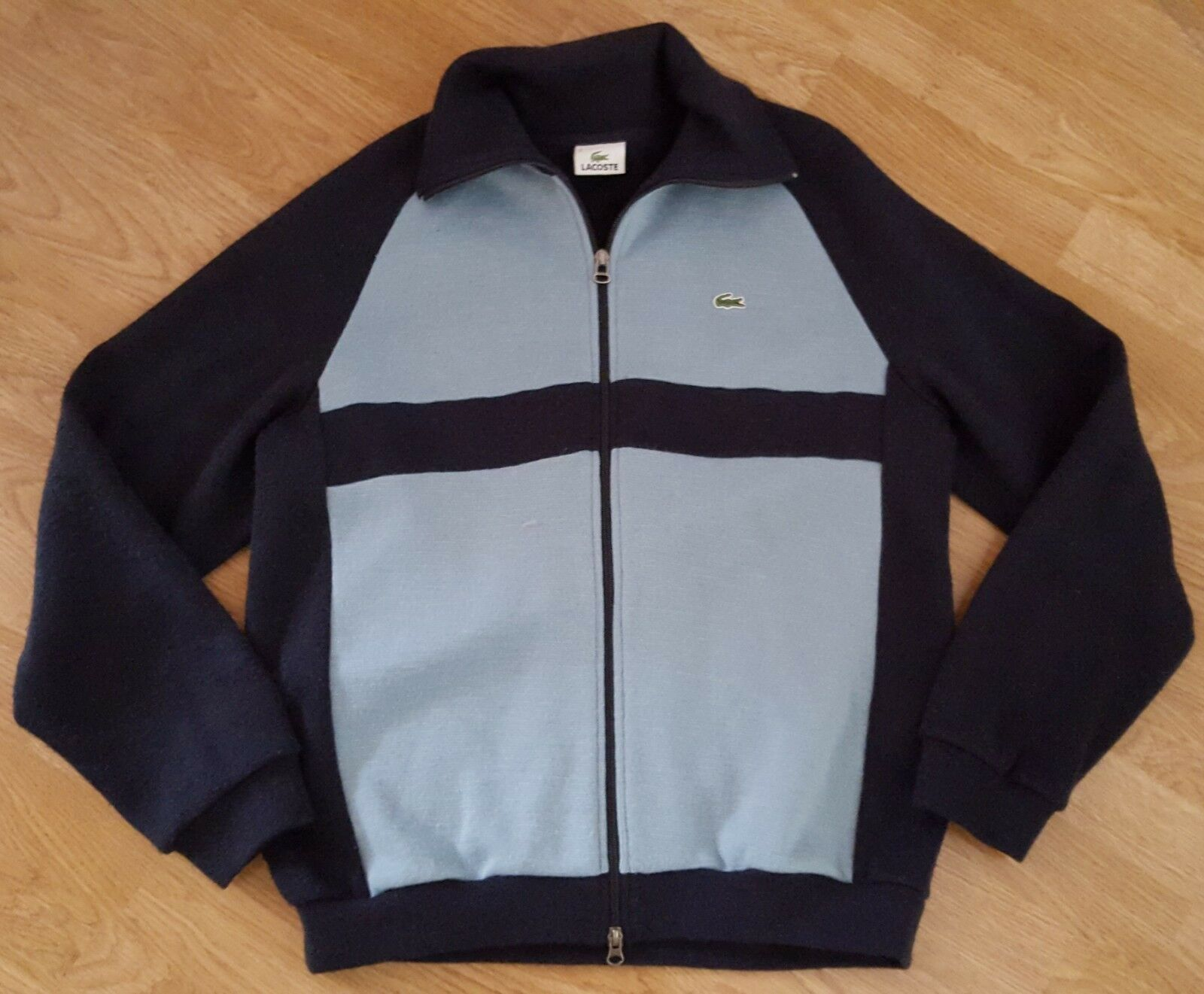 Lacoste Jumper Cotton Rich Zip Navy Striped Größe 5