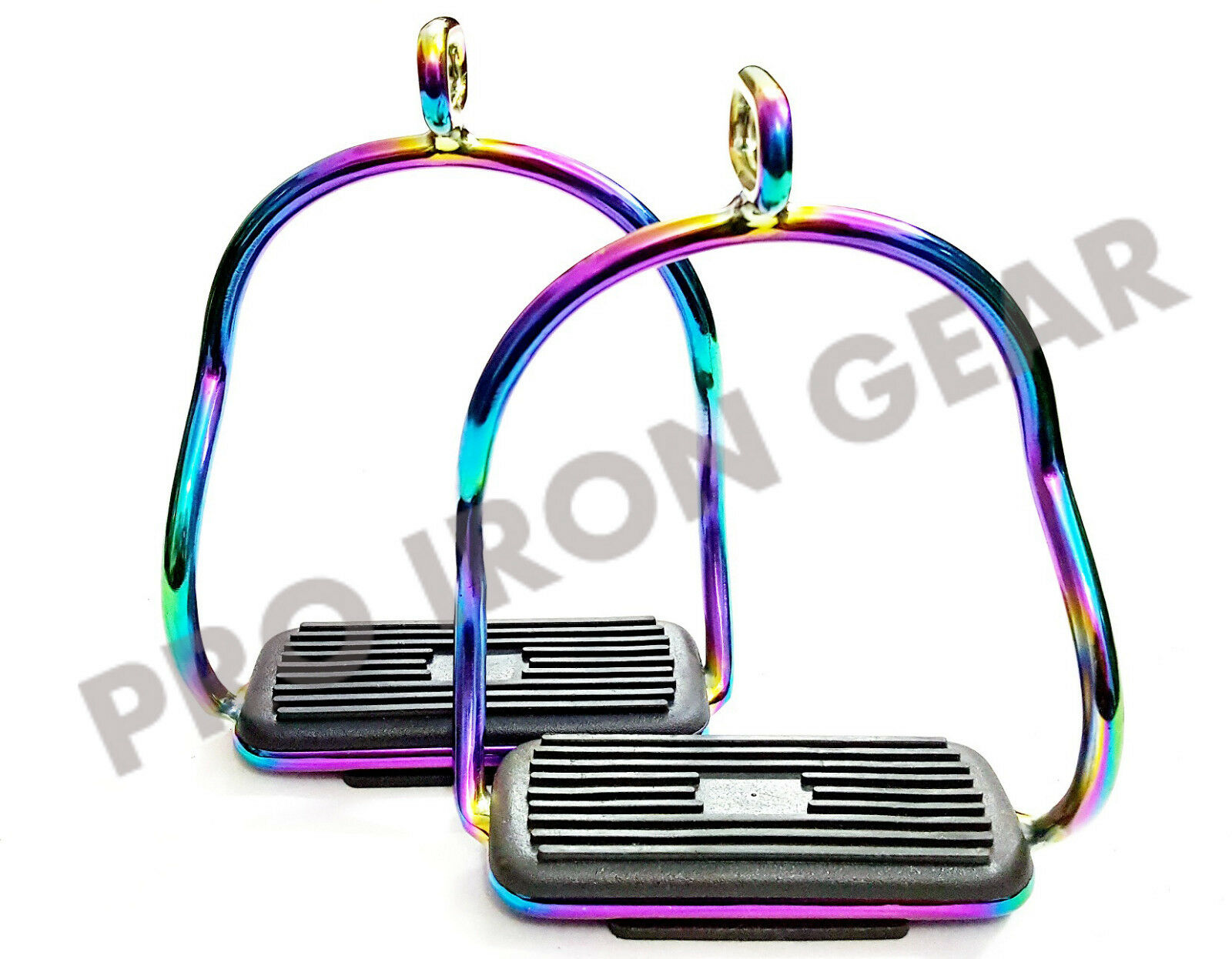 RAINBOW ALUMINUM DOUBLE BENT STIRRUPS HORSE RIDING STAINLESS STEEL