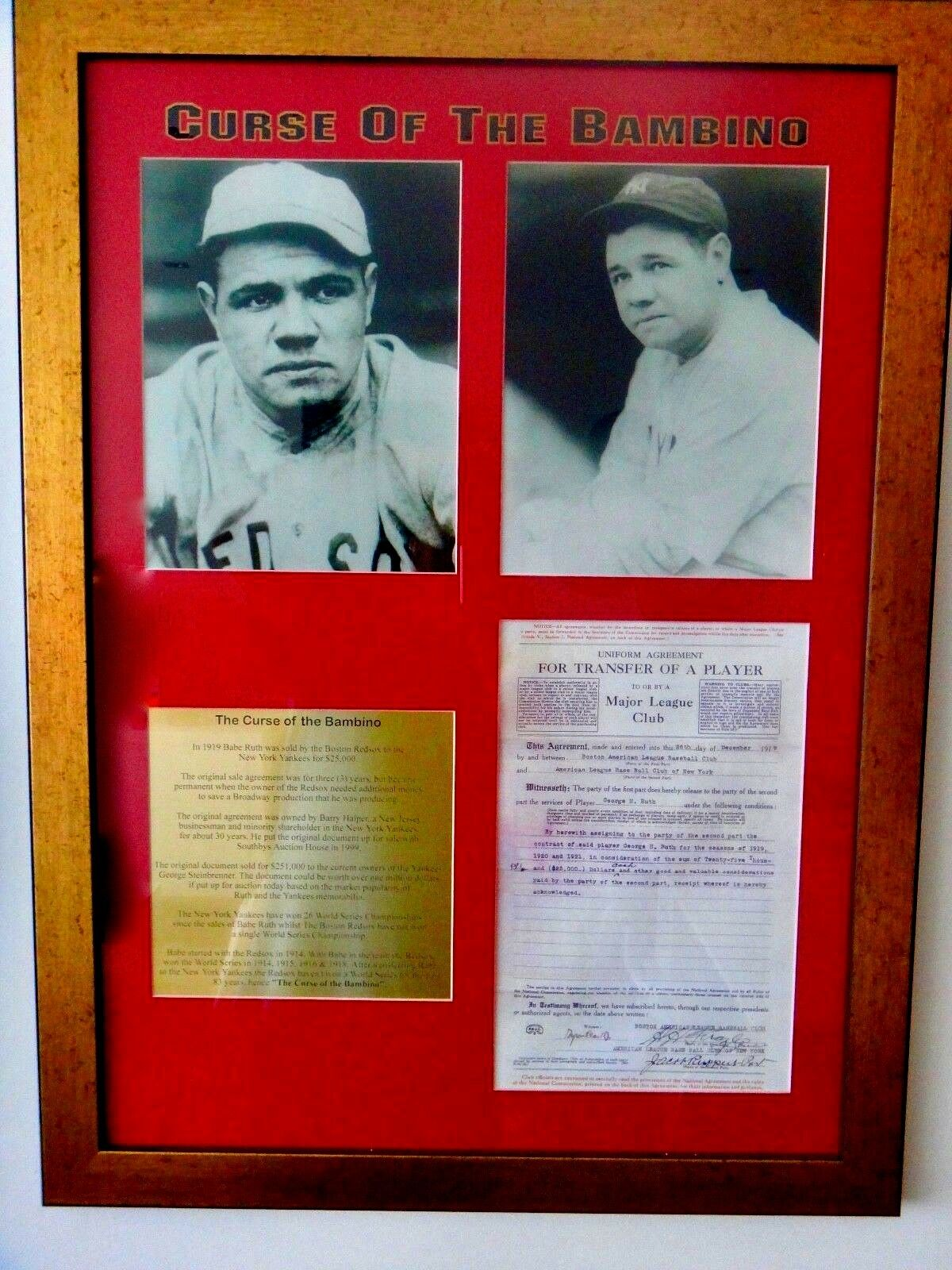 Babe Ruth - Agreement/Curse of the Bambino Story Plaque – Frame 60 x 80 x 5cm