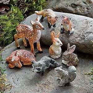Miniature Dollhouse FAIRY GARDEN ~ Forest Animal Friends Set of 8 ~ NEW