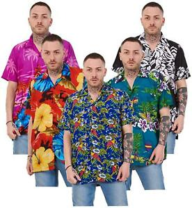 Mens-Hawaiian-Shirt-Multi-Colors-Print-Regular-Big-Size-Summer-Fancy-Dress-M-5XL