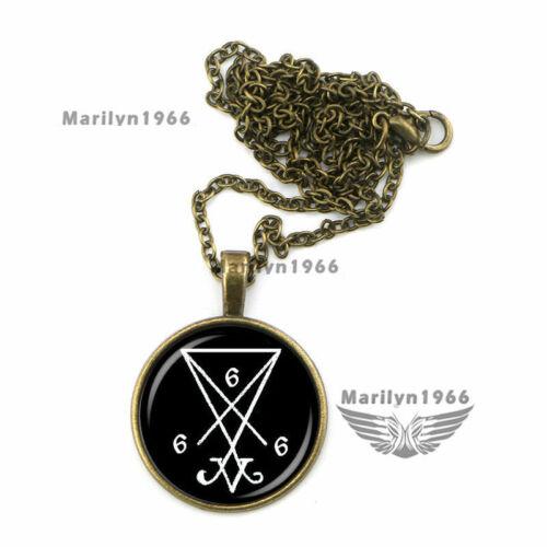 Pentagram 666 Goat Head Gothic Bronze Pendant Necklace Chain UK Devil Hail Satan