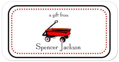 20 Personalized Gift STICKERS~ Little Red Wagon