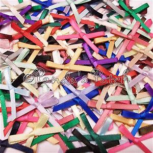 3mm-Satin-Ribbon-Bows-30pk-50pk-or-100pk-24-Colours