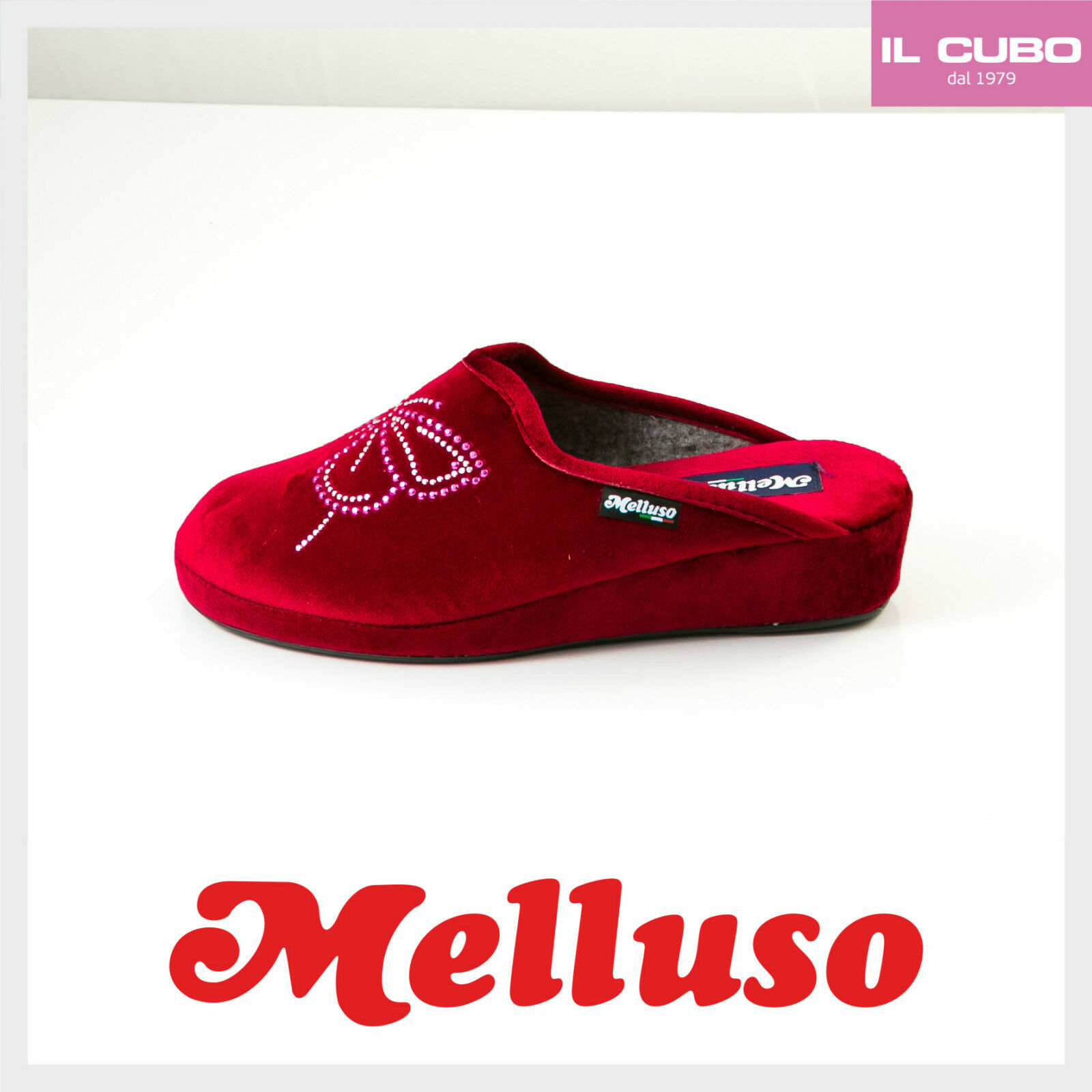 MELLUSO PANTOFOLA DONNA VELLUTO COLORE ROSSO ZEPPA H 3 CM MADE IN ITALY