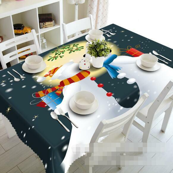 3D Snowman Couple Tablecloth Table Cover Cloth Birthday Party Event AJ WALLPAPER