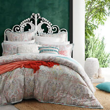Logan and Mason PRIYA SORBET Paisley Queen Size Doona Duvet Quilt Cover Set NEW