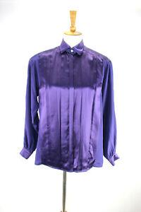 Vtg-Escada-100-Silk-Pleated-Front-Purple-Blouse-34