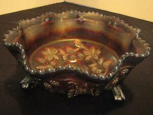Vintage Carnival Glass Fenton Butterfly and Berry Bowl Amethyst 9 1/4