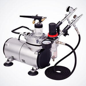 New-3-Airbrush-amp-Compressor-Kit-Dual-Action-Spray-Air-Brush-Set-Tattoo-Nail-Art