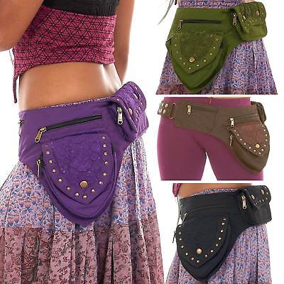 Psytrance Psy Belt Festival Belt Hippie Hip Bag Travel Belt BLACK LEATHER Festival Utility Belt Hippy Fanny Pack Boho Pocket Belt