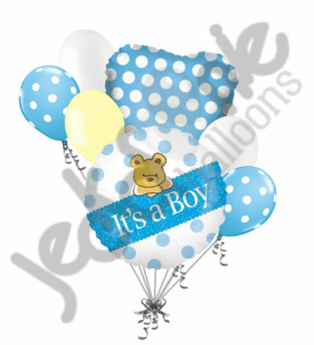 7pc It/'s a Boy Dazzleloon Bear Balloon Bouquet Party Decoration Baby Shower Gift