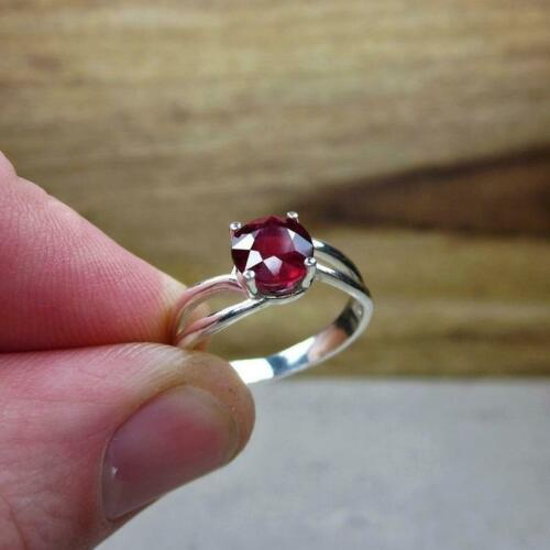 Details about  /Natural Pink Ruby Round Gemstone 925 Sterling Silver Partywear Gift Ring Jewelry