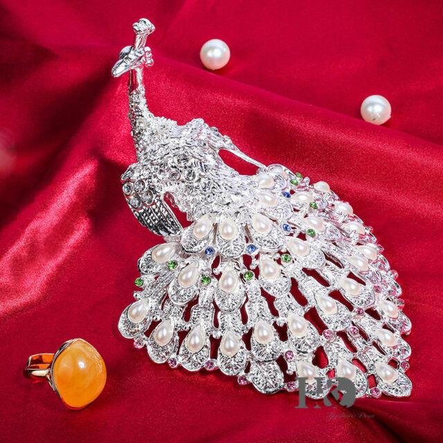 Silver Peacock Metal&Crystal Jewelled Trinket Box Wedding Celebration Gift Decor