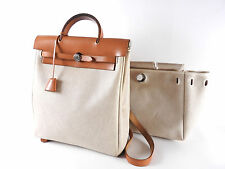 Auth HERMES Her Bag Ado PM Backpack Hand Bag Toile H Calf Leather Beige □D A5382