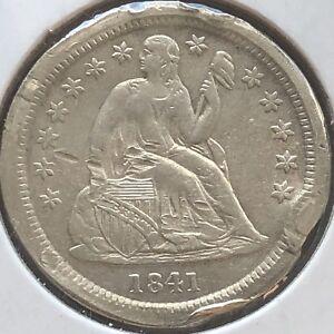 1841 O Seated Liberty Dime 10c High Grade Rim Dmg New Orleans #12367