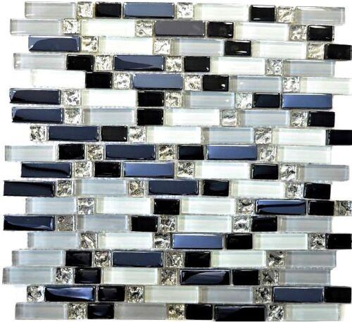 Glasmosaik blanc//gris//noir mix Mur Cuisine Salle de Bain WC art:wb87-il0071 de coffre