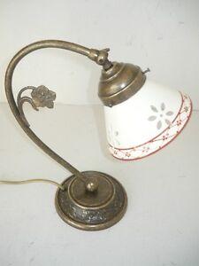 Dettagli su Lampada per comodino camera da letto in ottone brunito  abat-jour ceramica