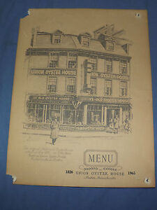 VINTAGE  UNION OYSTER HOUSE BOSTON MASSACHUSETTS   MENU