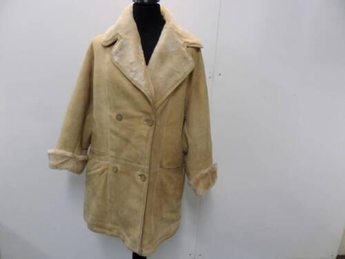 Breasted Dames jas Womens Ruffo leer shearling Beige shearling Coat Leather beige 56 56 Breasted Double Double Ruffo EEqHnwFf