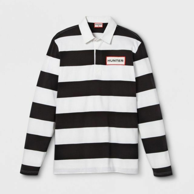 177029b84b Hunter for Target Mens Size Medium LS Rugby Shirt Polo Stripe White Black  for sale online