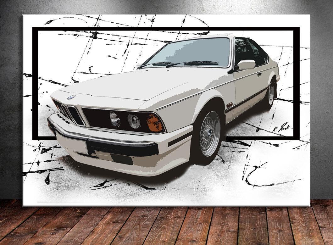 Auto BMW 635 CSI Sportwagen Abstrakt Bild Leinwand Kunst Bilder Wandbilder D0943
