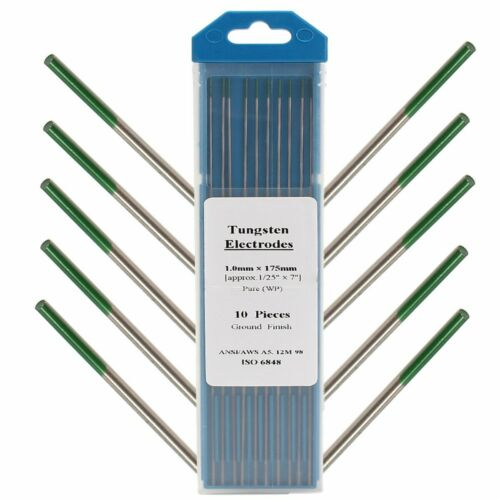 10Pcs 1mm x 175mm Green Tip Pure Tungsten Electrode For TIG Welding