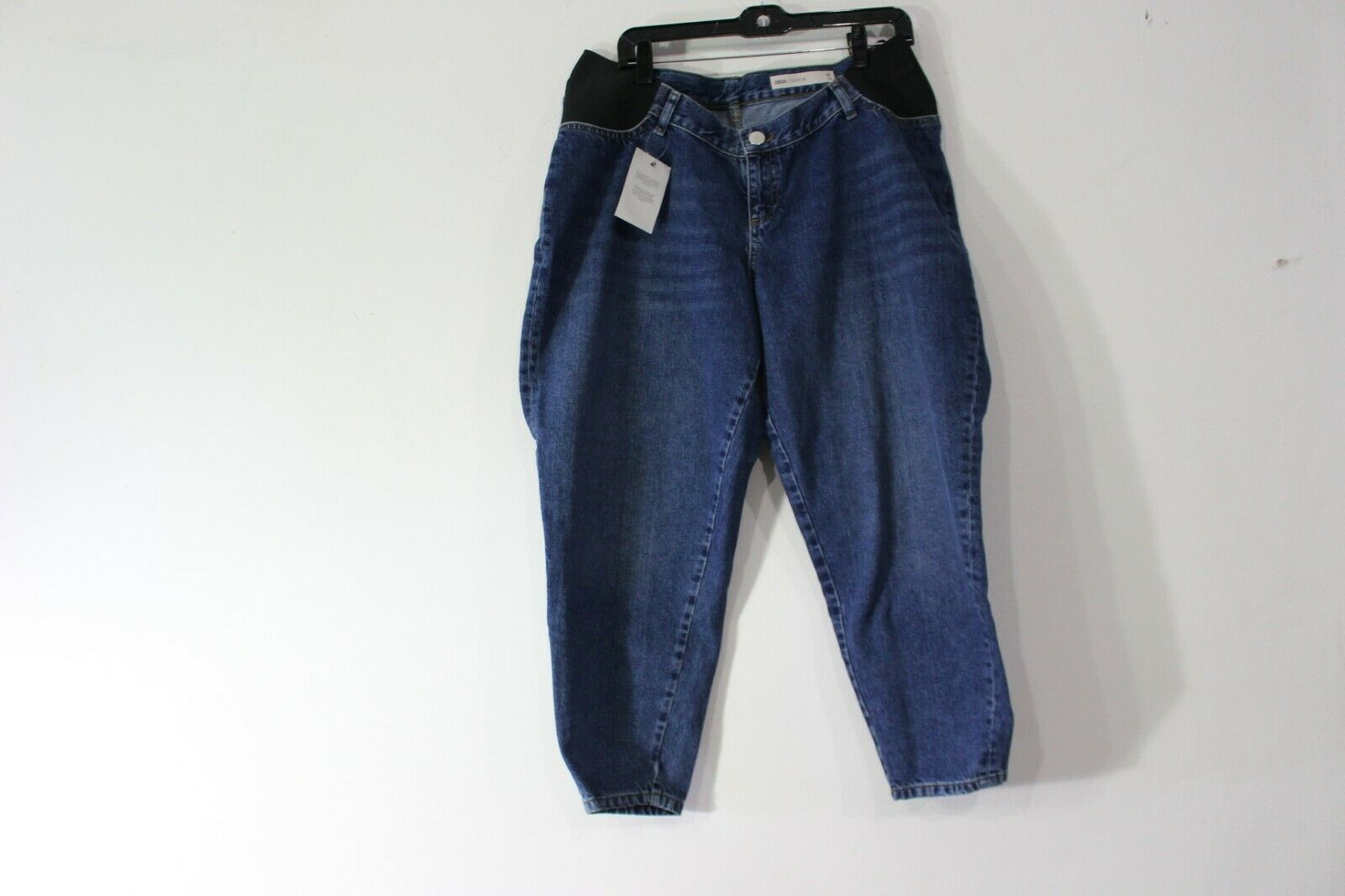 ASOS DESIGN MATERNITY BALLOON LEG BOYFRIEND JEANS SIZE 10 DARK WASH blueE   51.00
