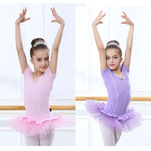 Girl Kids Dancewear Ballet Tutu Dress Gymnastics Bodysuit Dresses Leotards 6-16Y