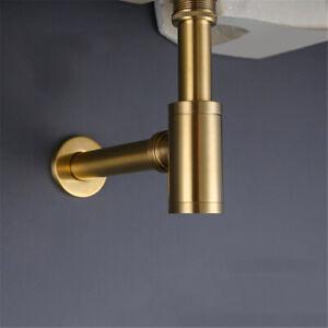 Bathroom-Basin-sink-Pop-Up-Drain-Slot-Plug-Waste-Drain-Brushed-Brass-Gold