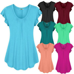 Women-039-s-Plus-Size-Loose-V-Neck-Short-Sleeve-Solid-Top-Pleated-Blouse-T-shirt