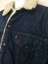 Vintage  Levis Sherpa Lined Denim Trucker Jean Jacket Size 50 USA Orange Tab